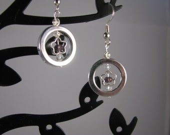 Captured Stars! Silver stars with sparkling lilac swarovksy crystals encircled with silver halo!
