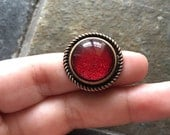 Ruby Slippers - glass statement ring