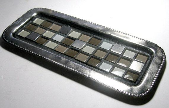 Mosaic vanity tray mosaic candle tray silver mosaic vanity for Long rectangular candle tray