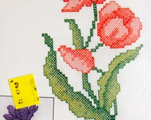 "OOP New 1999 Bucilla Special Edition Stamped Cross-Stitch Tulips Pillowcase Pair #64798 20"" x 30"""