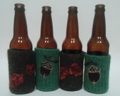 Autumn Leaves and Acorns Beer Cozies set of 4