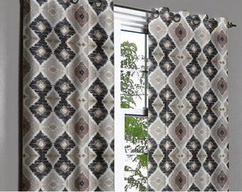 Coffee Diamonds Grommet Blackout Lined Curtain in Textured Jacquard Weave Fabric Decor Housewares Window Treatment Drapes Curtain Panels