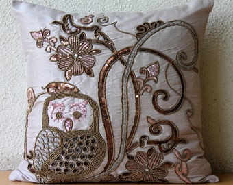 """Handmade  Beige Decorative Pillows Cover, Sequins & Beaded Owl Pillows Cover Square  18""""x18"""" Silk Pillowcase - Ollie The Owl"""