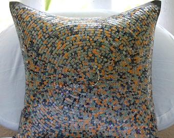 """Multi Color Throw Pillows Cover For Couch, 16""""x16"""" Silk Pillowcase, Square  Colorful Sequins Optic Pattern Moroccon Pillows Cover - Marakesh"""