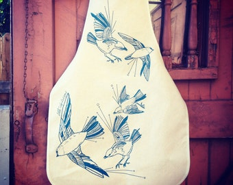 Fly Away Sparrows Kitchen Apron in Unbleached Cotton Canvas