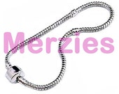 MERZIEs 19cm silver plated add a bead European Charm Snake 3mm round Chain Beads Bracelet