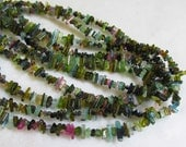 Pink Green Watermelon Tourmaline Pencil Point Stick CRystal Briolette Beads  1/2 Of 16 1/2 Inches Natural