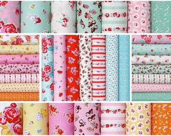 Cotton Fabric Fat quarters  bundle 21-pcs, Milk Sugar Flower by Elea Lutz - Vintage retro design by Penny Rose Riley Blake
