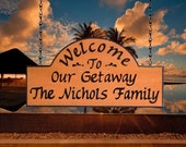 Personalized Carved Wood Sign - Our Cottage Cabin Getaway - Custom Carved Redwood Getaway Sign