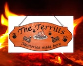 Family Name Sign - Extra Large size - Custom Campfire Log Marshmallows Carving - Your choice of graphic