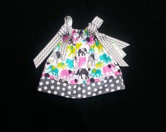 Pillowcase Dress -  Toddler Girl Dress -  Girls Spring Dress - 1st Birthday Dress - Girls Elephant Dress - Groovy Gurlz