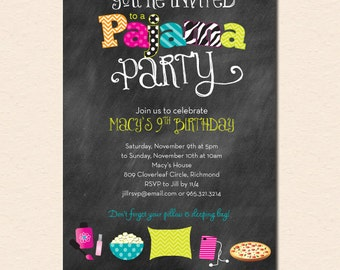 Funky Fun Chalkboard Pajama Party Invitation (Digital File - Printed Cards Also Available)