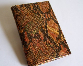 Leather Passport Cover/Wallet - Faux Python Snakeskin - For U.S. and Canada Passports