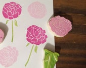 Peony Flowers Rubber Stamp Set Hand Carved