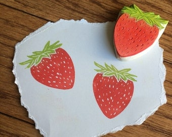 Strawberry Rubber Stamp Hand Carved