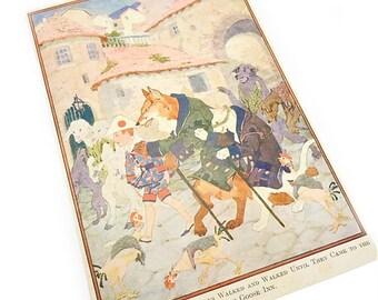 Fox Cat Gray Goose Inn PINOCCHIO childrens book illustration. paper ephemera . home decor . 1917 book page . wall art . nursery picture