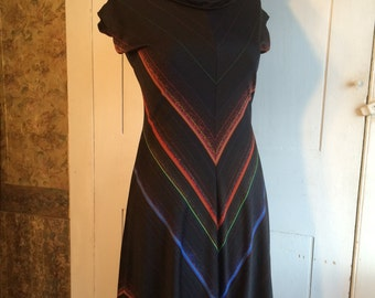 1970s Rainbow Chevron Knit Dress Cowl Neck Sleeveless Size 9
