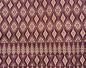 Fabric -Woven-Embroidred Magenta & Gold Thai Fabric- Yardage