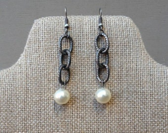 Lerner Oxidized Silver Chain and Pearl Earrings