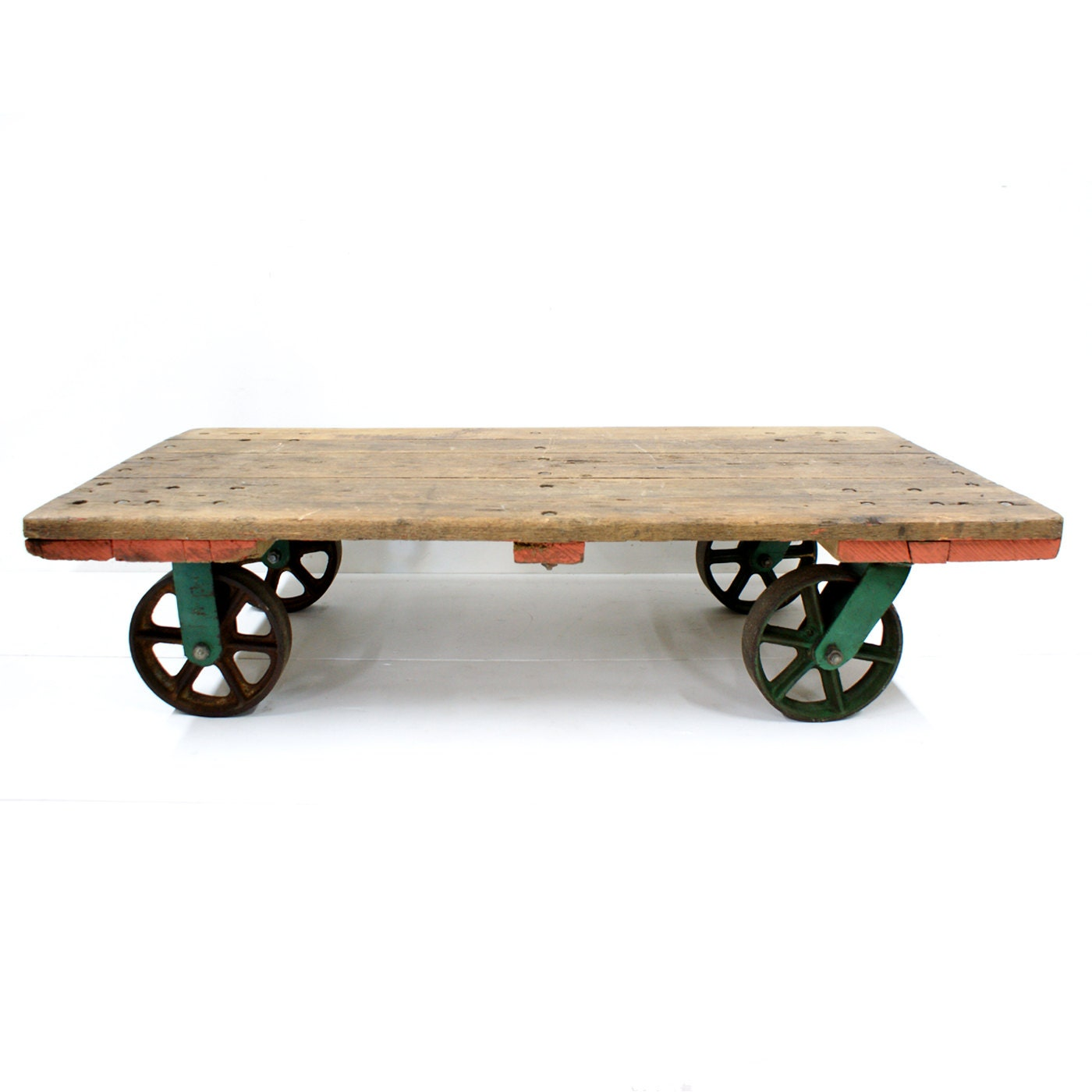 industrial vintage railroad cart coffee table by
