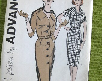 1960s Vintage Sewing Pattern Misses' Three Quarter or Short Sleeve Slim Fitted Dress / UNCUT Size 14