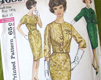 1960s Vintage Sewing Pattern, Wiggle Dress Pattern, Cropped Jacket, Jackie O Suit, Mad Men Style, Simplicity 4689 / Size 14.5