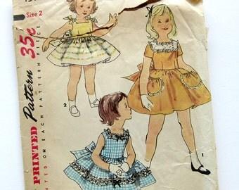 1956 Girls Vintage Dress Pattern - Sundress Party Dress Simplicity 1596 // Size 2