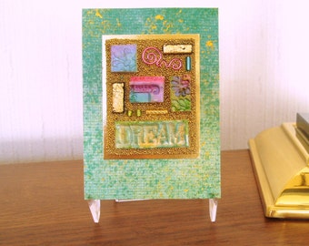 ACEO original art card,  polymer clay tile collage, DREAM