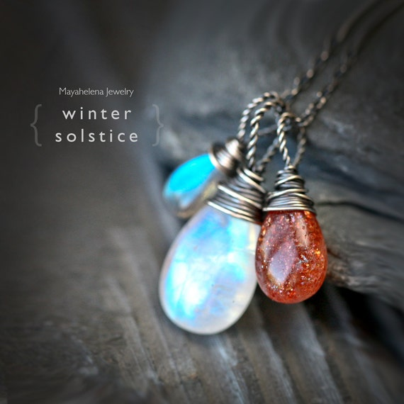 Winter Solstice  - Moonstone Sunstone and Labradorite Wire Wrapped Sterling Silver Necklace