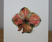 Watercolor Painting Original Hydrangea Bloom Flower Floral Coral Pink Green Sienna Seafoam