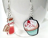 Eat Me Drink Me Alice clear acrylic charm earrings