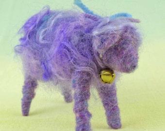 Lavender Lamb Needle Felted Wool Doll