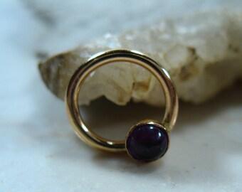 Septum Ring Gold Amethyst - Gold Septum Ring, Gold Nipple Ring, Amethyst Septum Ring, Bohemian Septum Ring, Tribal Jewelry, Amethyst Nipple