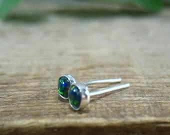 Stud Earrings Silver 32 Blue Opal Studs - Stud Earring, Post Earrings, Single Stud Earring, 16 Gauge Studs, Blue Opal Studs, Opal Studs