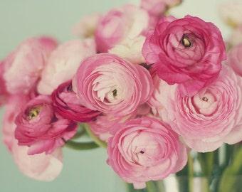 Pink Ranunculus Photograph, Flower Bouquet Still Life, Floral Art Print, Pale Blue Decor, Nature Photography, Pink Decor, Pink Ranunculus