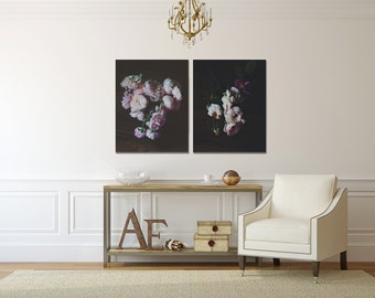 Photography Set - Dark Botanical Prints Black Modern Floral Wall Art Photo Set of Two Prints English Roses Fine Art Photography Still Life