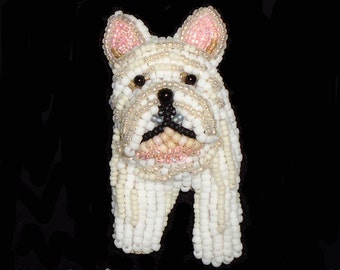 FRENCH BULLDOG beaded keepsake dog pin pendant art jewelry (Made to Order) Free US Shipping