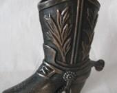 Cowboy Boot Copper Metal Pencil Sharpener Vintage