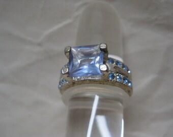 Blue Rhinestone Ring Silver Vintage Size 6 1/4