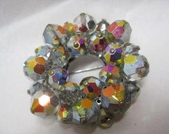 Aurora Cluster Wreath Brooch Vintage Pin Glass