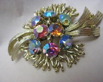 Pink Blue Aurora Brooch Gold Rhinestone Vintage Pin