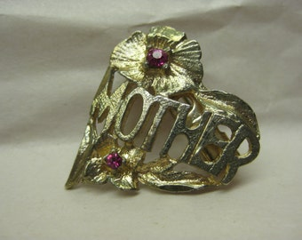 Mother Heart Pink Gold Brooch Rhinestone Vintage Pin