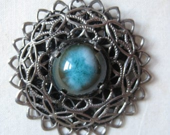 Turquoise Brown Silver Filigree Cab Necklace Vintage Pendant Ceramic