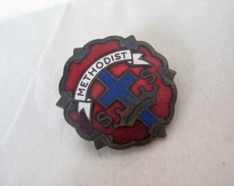 Methodist Pin Enamel Vintage Brooch Christian Red Blue