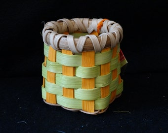 Hand Woven Basket in Chartreuse and Sunshine Orange. Storage Basket.  Small storage basket. Basket. Handmade Baskets in fun colors!