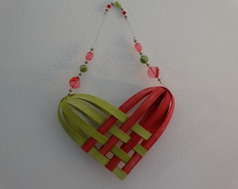 Hand Woven Basket in Bright Pink and Chartreuse with beaded handle.  Heart Basket.  Gift basket.  Baskets.  Hand Made Baskets in fun colors.