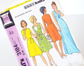 Uncut Vintage 1970's A Line Maxi Dress Sewing Pattern for Knits, McCalls 3184, Bust 39 Inches