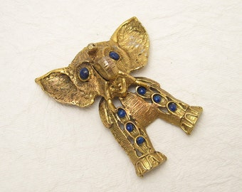 Vintage Elephant Pendant Huge Articulated D&E Vintage Jewelry C6171