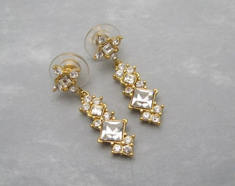 Long Rhinestone Earrings Dangly Vintage Jewelry E6206