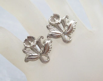 Sterling Orchid Earrings Vintage Bridal Jewelry Spring Flower E6253
